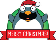 Bannière de pingouin de Noël de bande dessinée Photo libre de droits