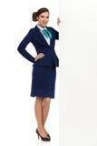 Bannière de Posing Close To de femme d'affaires grande photo stock