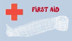Bannière de premiers secours avec la Croix-Rouge et le bandage Images libres de droits