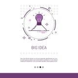 Bannière de processus créative de Web d'affaires de grande nouvelle inspiration d'idée avec l'espace de copie illustration stock