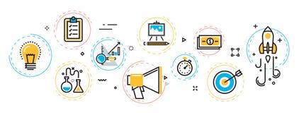 Bannière de processus de démarrage et plan de projet d'affaires en EL de cercles Image libre de droits