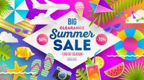 Bannière de promotion des ventes d'été Vacances, vacances et fond lumineux coloré de voyage Conception d'affiche ou d'insecte illustration libre de droits