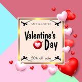 Bannière de promotion des ventes de jour de valentines dans le style de vintage Illustration de vecteur Photos libres de droits