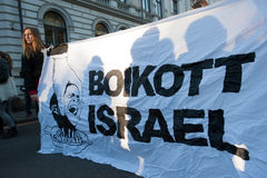 Bannière de protestation de l'Israël de boycott Photo libre de droits