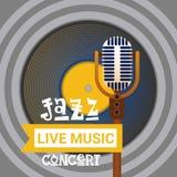 Bannière de publicité d'affiche de Jazz Festival Live Music Concert rétro Image stock