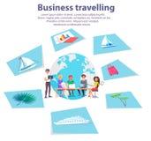 Bannière de publicité d'agence de déplacement d'affaires illustration libre de droits