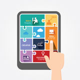 Bannière de puzzle de calibre de comprimé de poussée de doigt d'Infographic. illustration stock