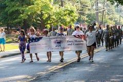 Bannière de quatrième de Dunwoody de défilé de juillet Image stock