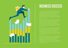 Bannière de réussite commerciale avec l'homme d'affaires illustration libre de droits