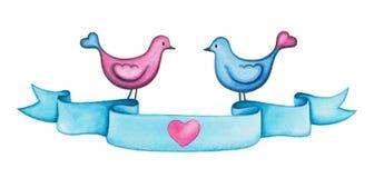 Bannière de ruban bleu d'aquarelle de jour de valentines avec deux oiseaux d'amour Photo libre de droits