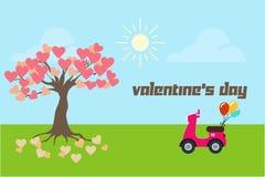 Bannière de Saint-Valentin ou carte avec une moto et l'arbre de l'amour illustration libre de droits