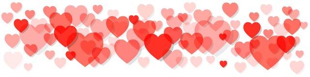 Bannière de Saint-Valentin vivant Coral Pantone Colour des coeurs de l'année 2019 sur un fond blanc illustration libre de droits
