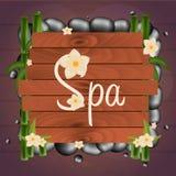 Bannière de salon de station thermale avec des pierres Massage thaï Cadre en bois Illustration de vecteur Images stock