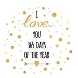 Bannière de salutation de jour de valentines de saint Citation positive tirée par la main typographique d'or et d'étincelle je t' Photographie stock libre de droits