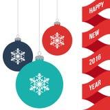 Bannière de salutation de nouvelle année avec les jouets décorés de boule de Noël, illustration plate de vecteur