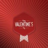 Bannière de salutation de textile de jour de valentines avec le texte Image stock