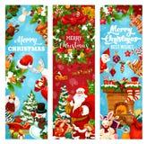 Bannière de salutation de vacances de Noël et de nouvelle année illustration de vecteur