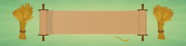 Bannière de salutation de vacances Rouleau et gerbes de blé Photographie stock