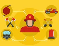 Bannière de sapeur-pompier, style plat illustration stock