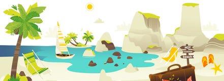 Bannière de scène de plage avec des éléments de vacances d'été Photographie stock