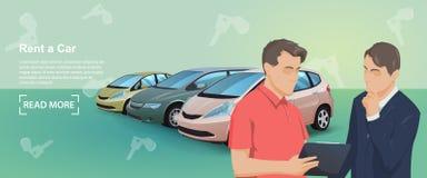 Bannière de service d'automobile de loyer Voitures marchandes et voitures de location Achat de la voiture illustration libre de droits