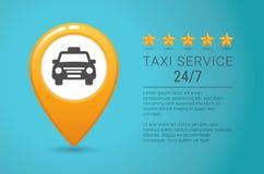 Bannière de service de taxi Icône jaune de taxi La goupille jaune de carte avec la voiture de taxi se connectent le fond bleu Photographie stock