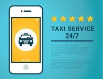 Bannière de service de taxi Icône jaune de taxi La goupille jaune de carte avec la voiture de taxi se connectent le fond bleu Illustration Libre de Droits