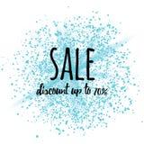 Bannière de signe de vente sur l'éclaboussure cosmique de scintillement bleu au fond blanc Photo stock