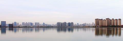 Bannière de site Web, bâtiments de Tang Island Bay Image stock