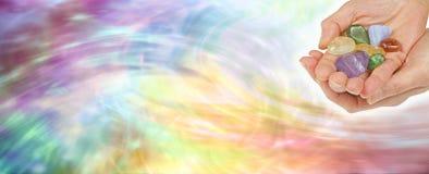 Bannière de site Web de thérapie par les cristaux photos stock