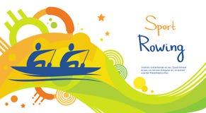 Bannière de Sport Competition Colorful d'athlète d'aviron Photo libre de droits