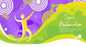 Bannière de Sport Competition Colorful d'athlète de joueur de badminton Photographie stock