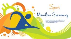 Bannière de Sport Competition Colorful d'athlète de natation de marathon illustration libre de droits