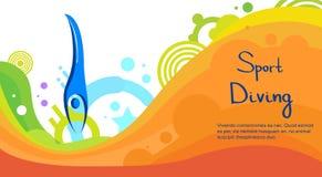 Bannière de Sport Competition Colorful d'athlète de plongée illustration stock