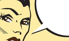 Bannière de style de bande dessinée d'art de bruit avec la belle femme illustration de vecteur