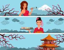 Bannière de sushi avec la femme Image stock