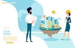 Bannière de Team Work Cartoon Vector Web d'architectes illustration libre de droits