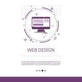Bannière de technologie de dispositif de programmation par ordinateur de développement de logiciel de web design avec l'espace de Photographie stock