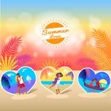 Bannière de temps d'amour d'été avec des photos des couples illustration libre de droits