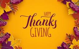 Bannière de Thanksgiving avec le texte de félicitation Feuilles d'arbre d'automne sur le fond jaune Conception pour la bannière d illustration libre de droits