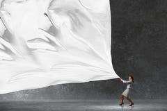 Bannière de tissu de traction de femme d'affaires photo libre de droits