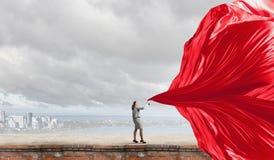 Bannière de tissu de traction de femme d'affaires Images libres de droits