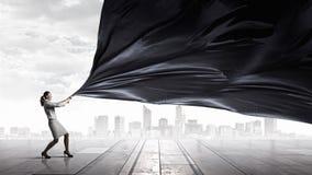 Bannière de tissu de traction de femme d'affaires photographie stock libre de droits