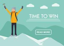 Bannière de tourisme de montagne le gagnant du grimpeur sur la montagne Heure de gagner Ensemble plat de vecteur d'illustration d images stock