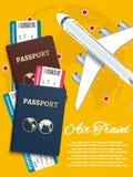 Bannière de transports aériens avec des billets d'avion de globe du monde - concept international de vacances illustration libre de droits