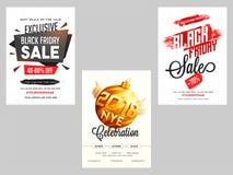 Bannière de trois de style différent nouvelle ventes d'année et de Black Friday ou t illustration de vecteur
