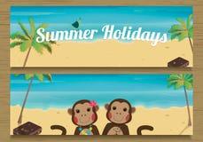 Bannière de 2 vacances d'été avec les singes mignons de couples Garçon et fille de singe Illustration de vecteur Photos libres de droits