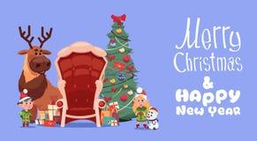 Bannière de vacances d'hiver de concept de carte de voeux de Joyeux Noël et de bonne année Illustration Stock
