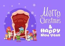 Bannière de vacances d'hiver de concept de carte de voeux de Joyeux Noël et de bonne année illustration de vecteur