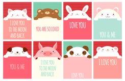 Bannière de Valentine avec les animaux mignons illustration libre de droits